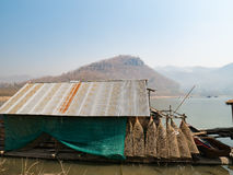 Houseboat and fish trap for fishing. In Thailand lake Stock Photo
