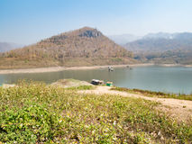 Houseboat and  fishing boat in Thailand lake Royalty Free Stock Images