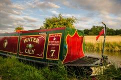 Houseboat on the Grand Union Canal, Warwickshire, England. Radford Semele, UK - July 21, 2015: Narrowboat moored on a stretch of the English Grand Union Canal royalty free stock photos
