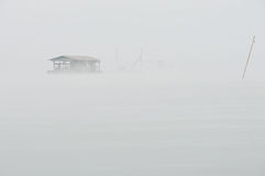 Houseboat In The Mist Royalty Free Stock Photo