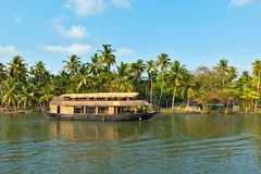 Houseboat on Kerala backwaters, Royalty Free Stock Photos