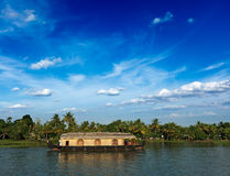 Houseboat on Kerala backwaters, India Royalty Free Stock Images