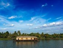 Houseboat on Kerala backwaters, India Royalty Free Stock Images
