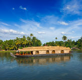 Houseboat on Kerala backwaters, India Royalty Free Stock Photos