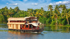 Houseboat on Kerala backwaters, India. Panorama of houseboat on Kerala backwaters. Kerala, India stock photos