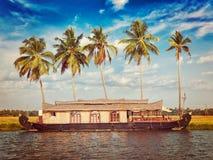 Houseboat on Kerala backwaters, India Royalty Free Stock Photos