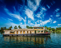 Houseboat on Kerala backwaters, India Royalty Free Stock Photography
