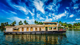 Houseboat on Kerala backwaters, India. Kerala India  travel background - panorama of tourist houseboat on Kerala backwaters. Kerala, India Royalty Free Stock Photography