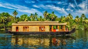 Houseboat on Kerala backwaters, India Stock Images