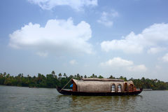 Houseboat on Kerala Backwaters at Kumarakom Stock Photo