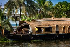 Houseboat in Kerala royalty free stock photography