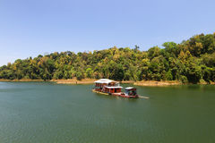 A houseboat in lake Stock Photo
