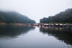Houseboat in Mae Ngad dam. Chiangmai Thailand Stock Photo