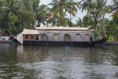Houseboat moored on the bank of a canal. Near Alappuzha Royalty Free Stock Photo