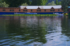 Houseboat in moored in Dal Lake-11. A beautiful and rich royal houseboat standing in lake in Kashmir Stock Image