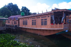 Houseboat in moored in Dal Lake-15. A houseboat moored in lake in Kashmir during off season Stock Photos