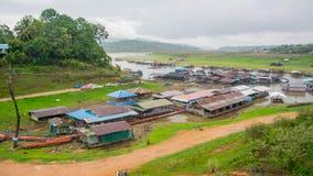 Houseboat and old wooden bridge in Sangkhla Buri,Kanchanaburi province, Thailand Stock Photography