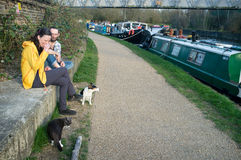 Houseboat people with their pets Royalty Free Stock Photo