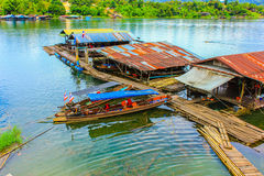 Houseboat. Pompis reservoir in Kanjanaburi Thailand Stock Photography
