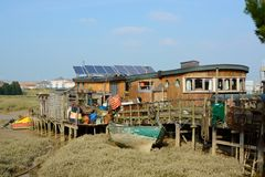 Houseboat on river Adur at Shoreham, England Stock Photos