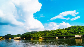 Houseboat on the River and blue sky Royalty Free Stock Photos