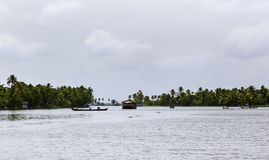 Houseboat on the river of Kerala, India Royalty Free Stock Photos