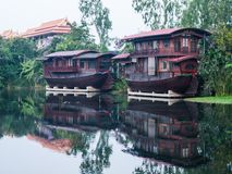 Houseboat in the Tha Chin River Nakhonpathom. Stock Photo