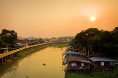 Houseboat in Thailand. Houseboat side river in Thailand Stock Images