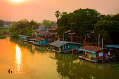 Houseboat in Thailand. Houseboat side river in Thailand Stock Photo