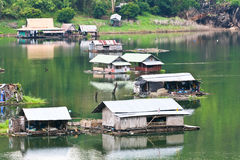Houseboat in Thailand. Houseboat at dam in Western of Thailand Royalty Free Stock Photos