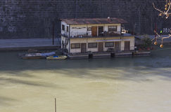 Houseboat on Tiber River Royalty Free Stock Photo
