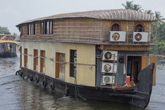Houseboat for tourist cruises. Navigating on the canals of Alappuzha Royalty Free Stock Photo