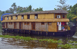 Houseboat. Tourist spend night in still backwater on luxury houseboat. This was shot in backwater Alleppy, kerala, india Stock Photography