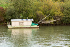 Houseboat used for dip fishing in River Danube Royalty Free Stock Image