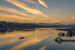 Houseboat village in Song Kalia river on sunrise, Sangkhlaburi, Royalty Free Stock Image