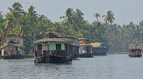 Houseboate a Alleppey Fotografia Stock