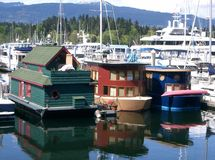 Houseboats. On bay,Vancouver,British Columbia Stock Image