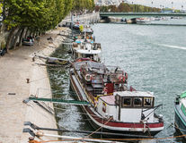 Houseboats anchored along the Seine, Paris Stock Photography