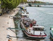 Houseboats anchored along the Seine, Paris Stock Photography