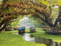Houseboats on the backwaters of Kerala in Alappuzha Alleppey stock photos