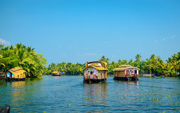 Houseboats in the backwaters of Kerala, India royalty free stock image