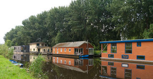 Houseboats in canal Stock Image