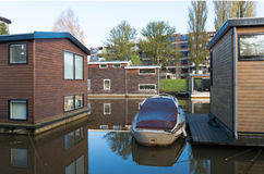 Houseboats in canal Royalty Free Stock Photos