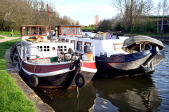 Houseboats on canal Stock Image