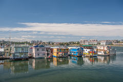 Houseboats floating at Fisherman wharf in Victoria Royalty Free Stock Photography