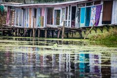Houseboats, the floating luxury hotels in Dal Lake, Srinagar.India Royalty Free Stock Photography