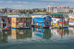 Houseboats floating in Victoria harbor. Royalty Free Stock Photography