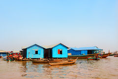 Houseboats in floating village, Tonle Sap lake, Cambodia Royalty Free Stock Photography