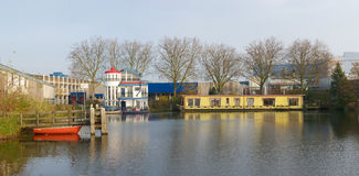 Houseboats in harbor Royalty Free Stock Images