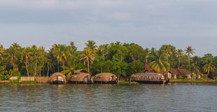 Houseboats in the Kerala Backwaters of South India Stock Photo